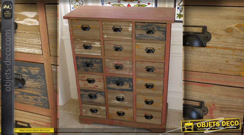 meuble de m tier style brocante 18 tiroirs. Black Bedroom Furniture Sets. Home Design Ideas