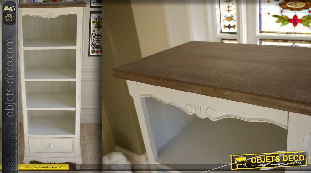 biblioth que troite style shabby chic patine 2 tons. Black Bedroom Furniture Sets. Home Design Ideas