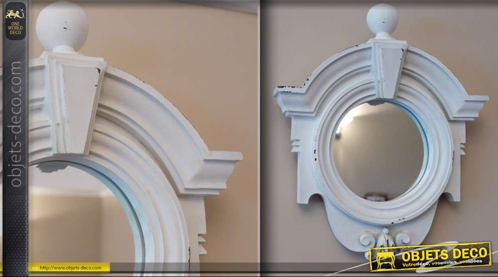 miroir miroir oeil de boeuf baroque avec cadre corniche. Black Bedroom Furniture Sets. Home Design Ideas
