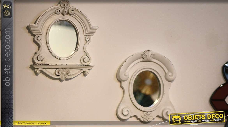 miroir oeil de boeuf de style ancien finition blanc antique. Black Bedroom Furniture Sets. Home Design Ideas