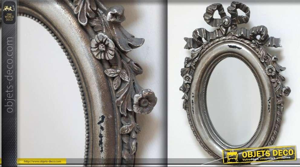 Grand miroir style baroque ajour et argent 100 x 100 cm for Miroir argent baroque