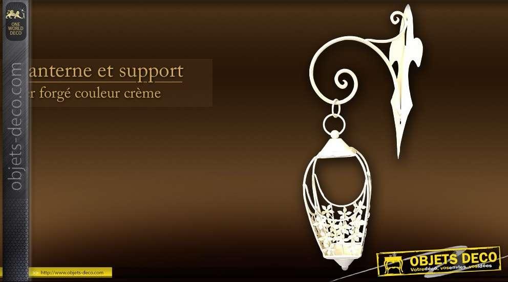 Lanterne et support en fer forg for Porte lanterne fer forge
