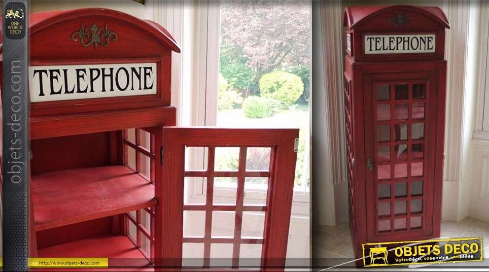 Vitrine en forme de cabine t l phonique anglaise 162 cm - Meuble cabine telephonique anglaise ...