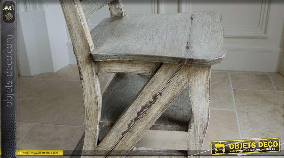 Chaise escabeau en bois massif style brocante for Chaise escabeau