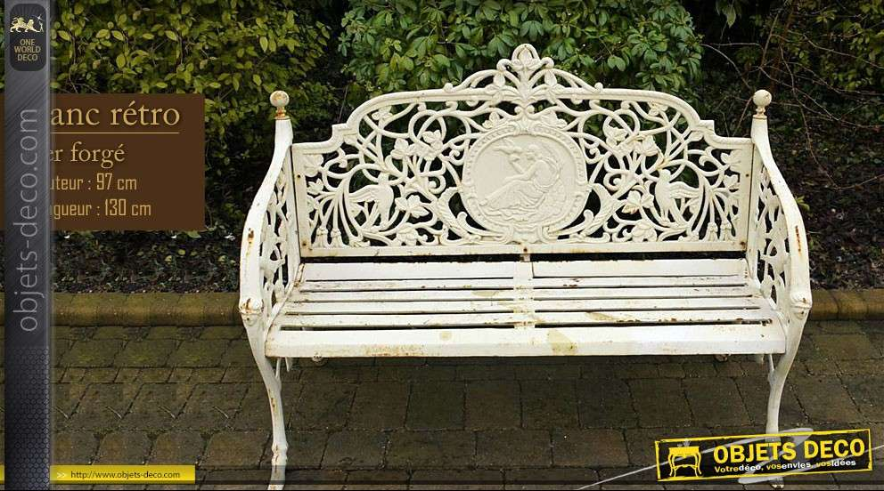banc de jardin r tro blanc antique oxyd. Black Bedroom Furniture Sets. Home Design Ideas