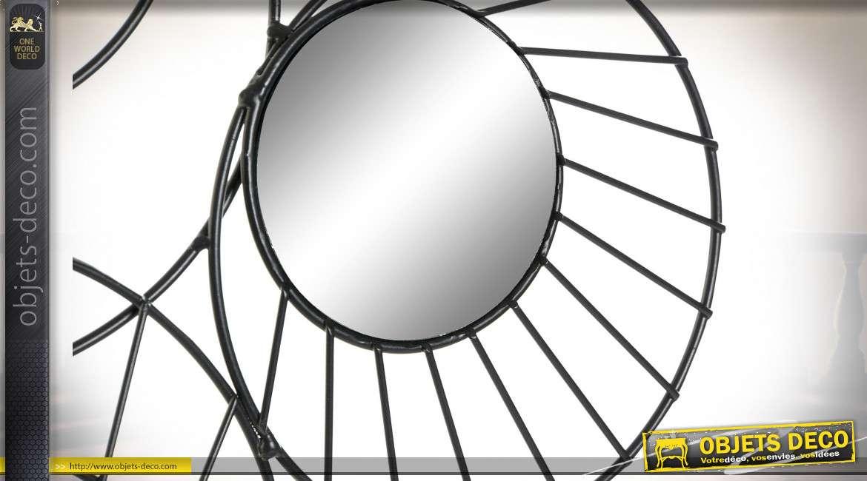 Décoration murale en métal finition noir charbon avec miroirs ronds, ambiance géométrique moderne, 54cm