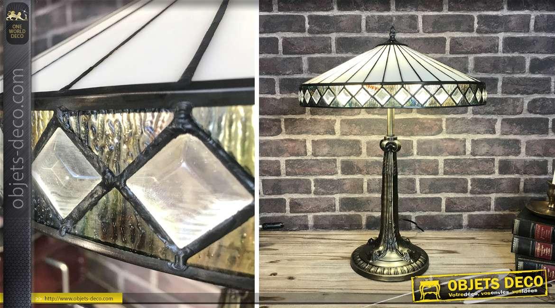 Lampe de style Tiffany en métal et verre, esprit ombrelle japonaise blanche Ø45cm, hauteur finale 61cm