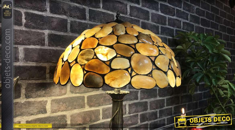Lampe de style Tiffany en verre et pierre, effet incrustation de vrais galets, dôme Ø40cm, hauteur finale 68cm