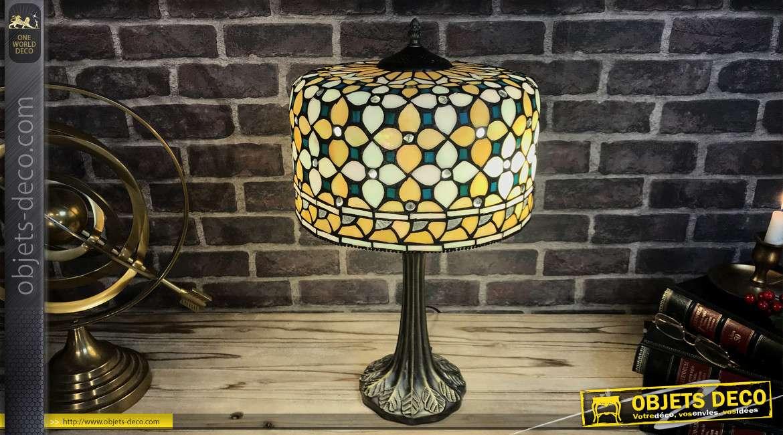 Lampe de style Tiffany en verre et métal, dôme en forme de cloche de Ø30cm, esprit coloré et étincelant, 52cm de hauteur finale
