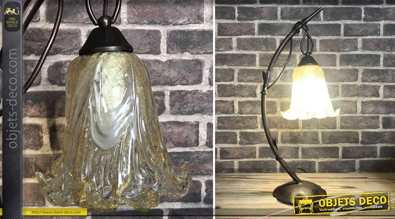 Lampe à poser en métal esprit bambou plié et tulipe style pate de verre, transparent et reflets ambrés, 60cm