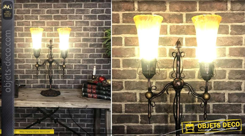 Grande lampe à 2 feux en métal de style médiéval, finition vieux rose et noir effet brossé, esprit chandelier, 69cm