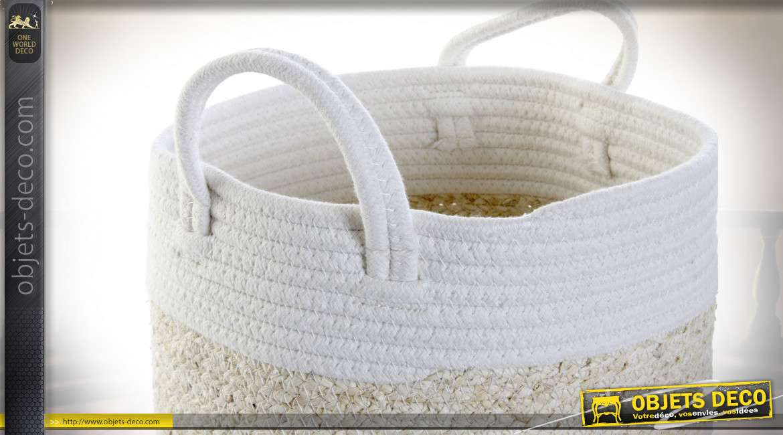 Série de deux petites corbeilles en coton et fibre de maïs style scandinave, 23cm