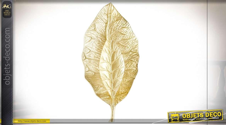 Luminaire applique en forme de feuille dorée style contemporain chic, 43cm