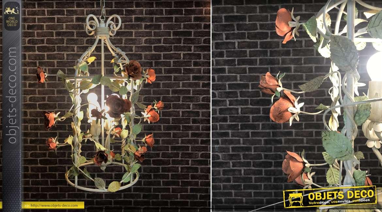 Suspension cage fleurie en métal de style vintage, bouquet de 20 roses avec 4 feux au centre, Ø53cm