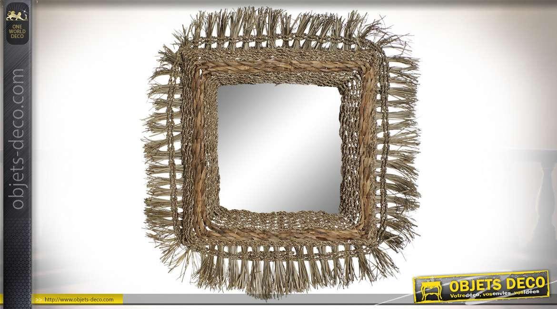 Miroir en jonc de mer tressé style ethnique, 84cm