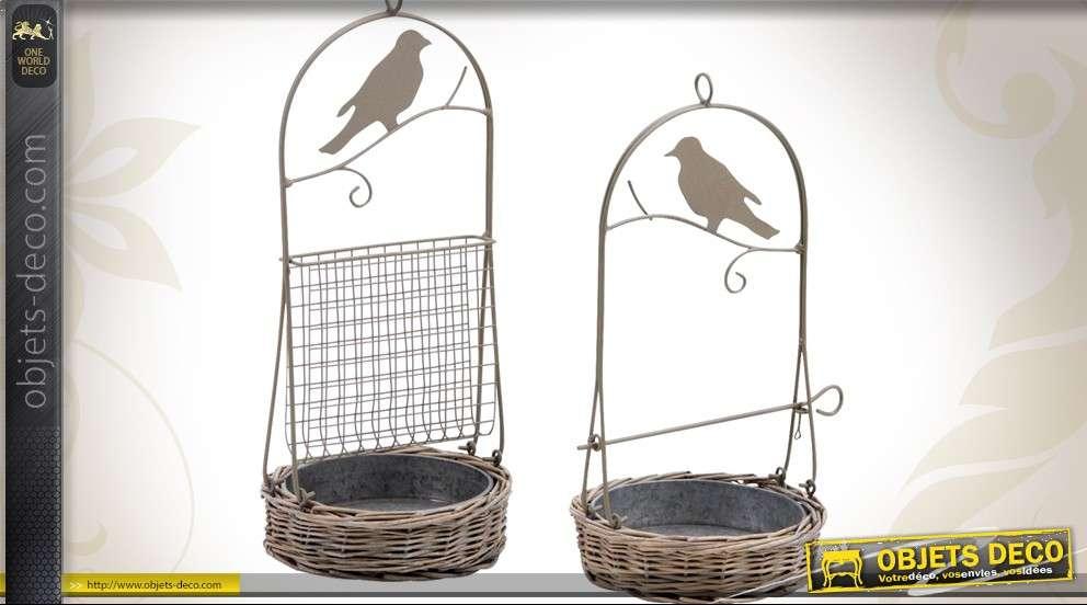 Mangeoire et abreuvoir avec perchoir pour oiseaux