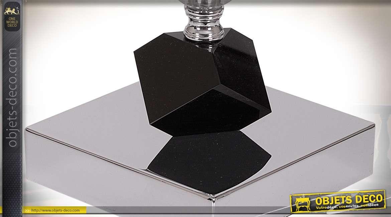 Lampe modèle Mykonis avec abjat-jour cylindrique noir 37 cm
