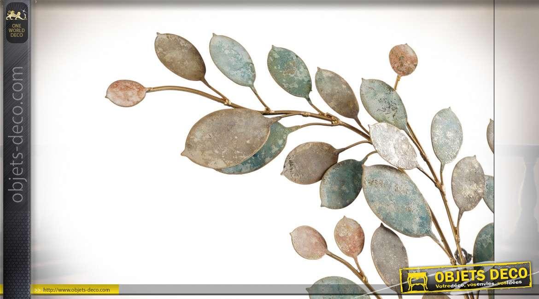 Grande décoration murale en métal représentant un eucalyptus, ambiance forêt tropicale, 80cm