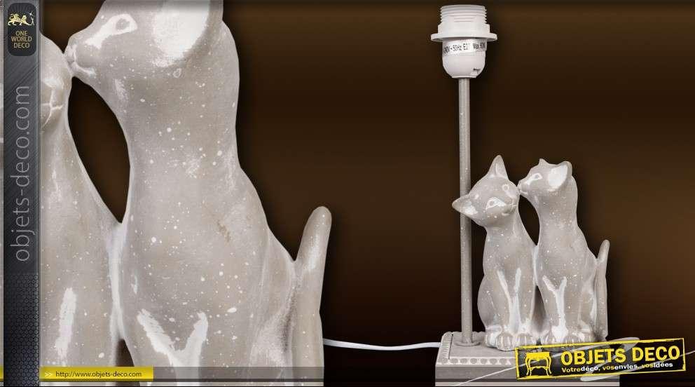 Pied de lampe déco couple de chats gris pierre
