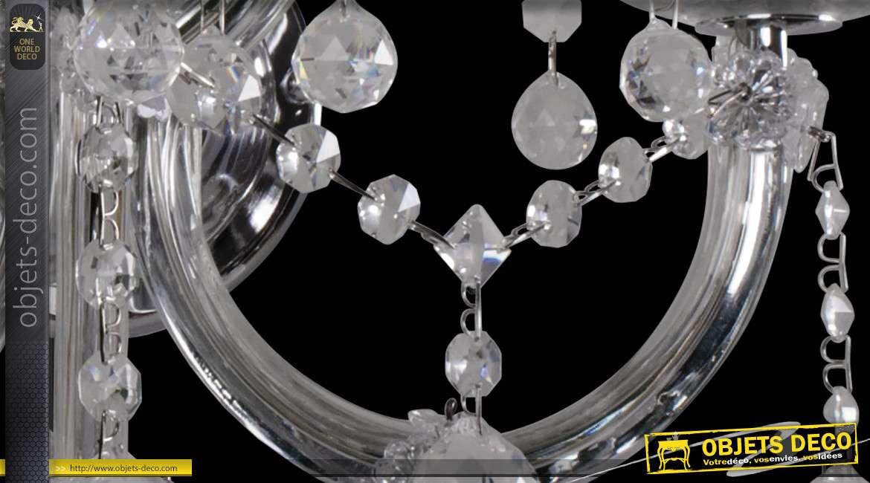 Applique Innsbruck chromée triple à pampilles et perles semi-opaques 47 cm