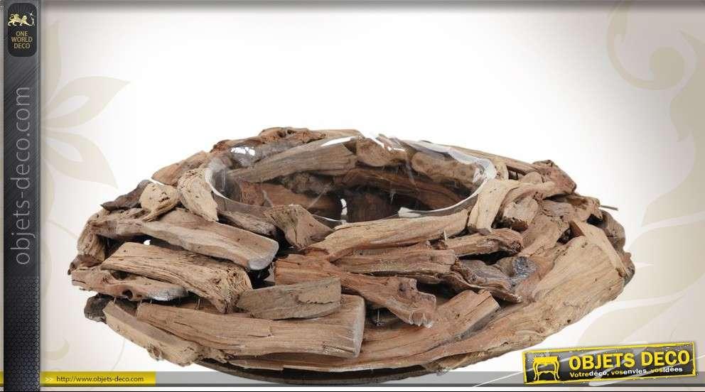 Jardinière en corbeille ronde de bois flotté