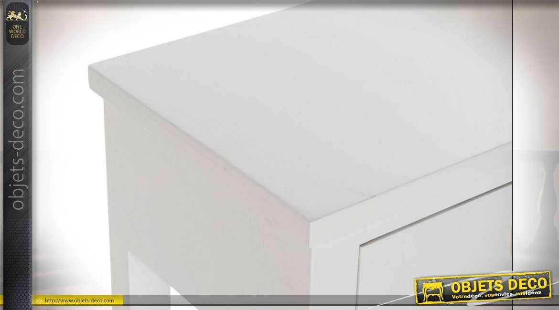 Table de chevet en bois finition blanche, de style scandinave, 1 tiroir, 64cm