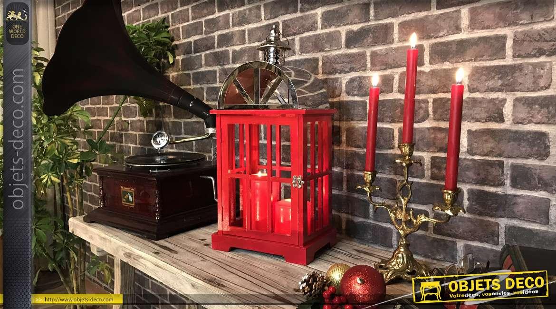 Lanterne en bois finition rouge londonien et métal chromé, sans carreaux, inspirations anciennes cabines téléphoniques, 55cm