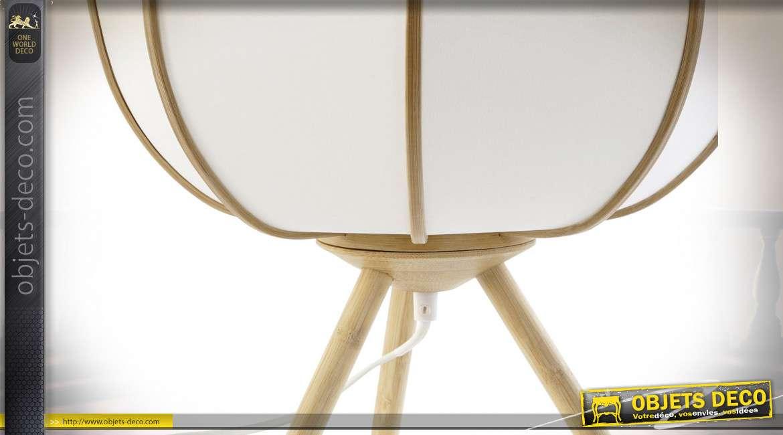 Lampe de chevet en bambou finition naturelle style asiatique, 33cm