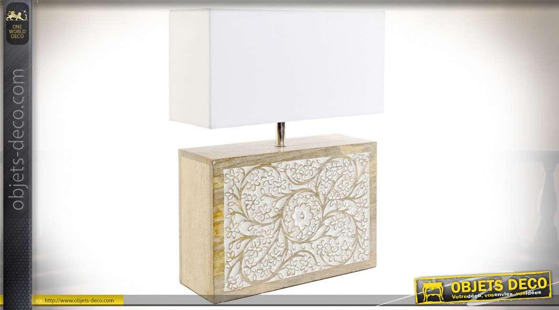 Lampe à poser en bois de manguier effet sculpté, finitions claire, style campagne chic, 60cm