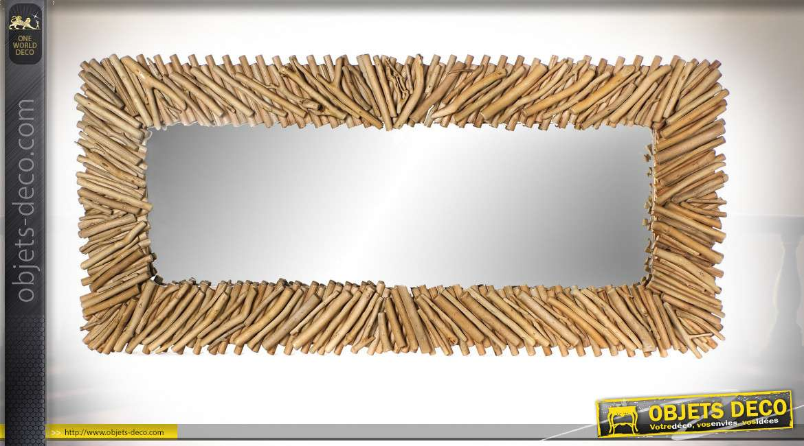 Grand miroir mural style bord de mer finition naturelle, 166cm