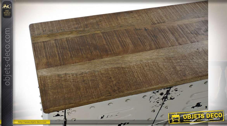 Buffet en métal et bois blanc effet vieilli style industriel, 152cm