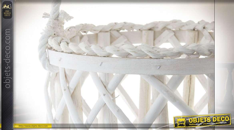 Lanterne à suspendre style scandinave en osier blanc, 80cm