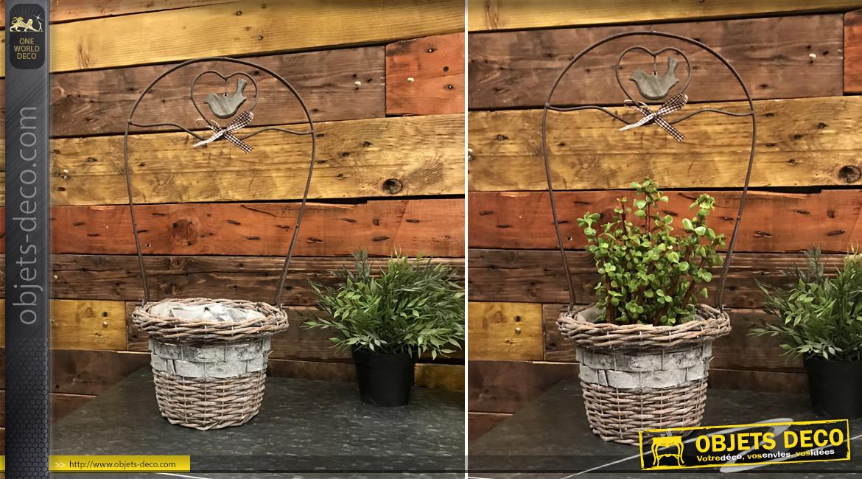 Jardinière de style romantique en osier et métal avec arc et mobile suspendu, 50cm