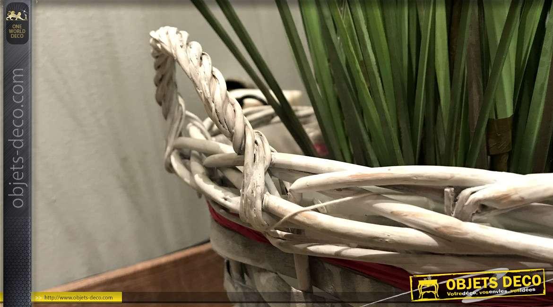 Cache-pot rond en osier fendu, finition blanche et grise, noeud en rafiat rouge, Ø34cm