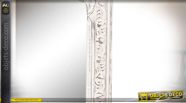 Grand miroir mural en bois patine blanche vieillie style romantique, 127cm
