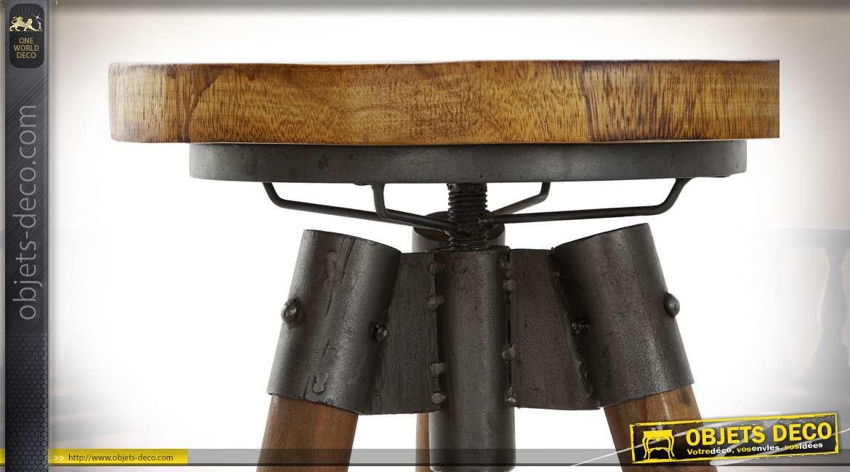 Tabouret à hauteur ajustable finition noire et brou de noix de style industriel, 72cm