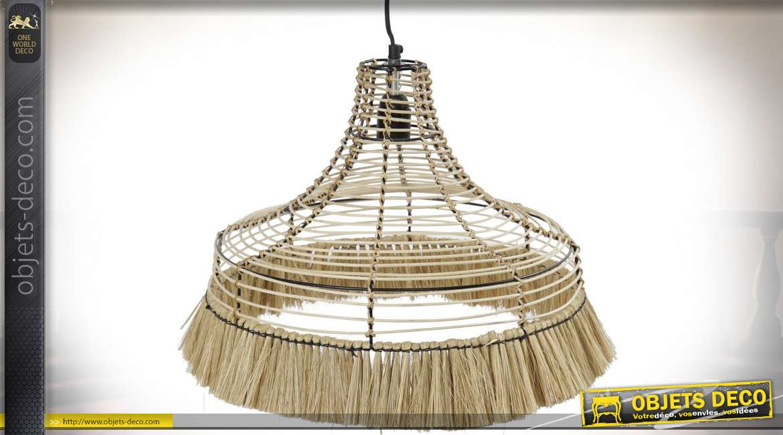 Suspension luminaire en métal et jute frangée esprit tropical, 45cm