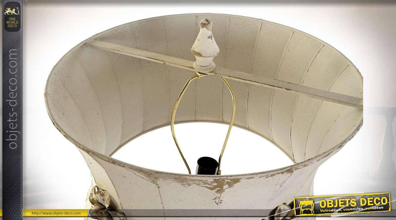 Lampe de table style rustique, pied en forme de couronne fleurie, 91cm