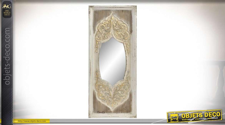 Grand miroir mural en bois de sapin sculpté en voûte arabe, 114cm