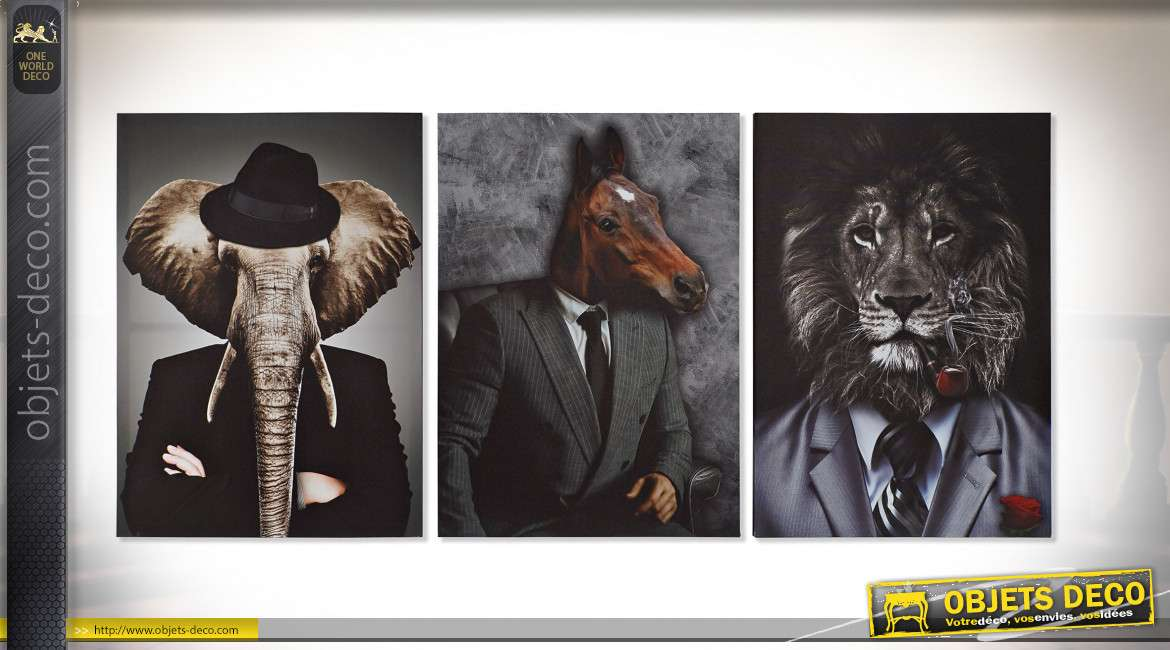 TABLEAU TOILE PIN 50X1,8X70 ANIMAUX 3 MOD.