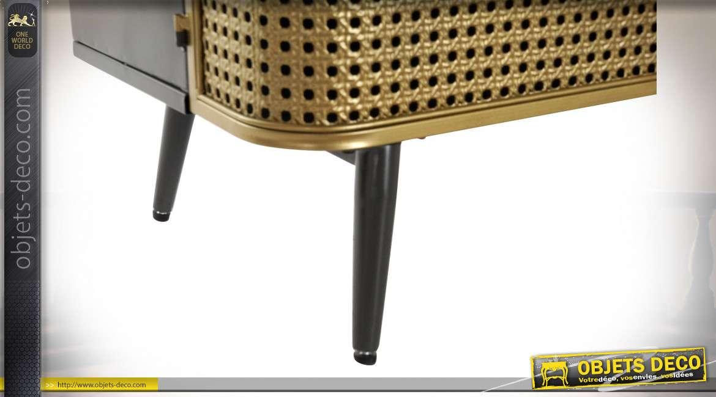 Buffet style industriel portes cannage finition laiton et noir, 118cm