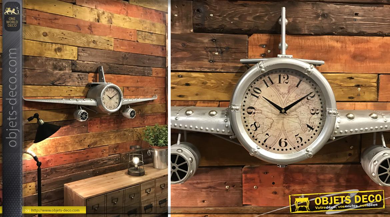 Horloge en forme d'avion ancien en métal finition gris vieilli, 141cm