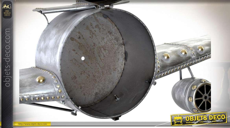 Horloge étagère d'avion ancien en métal gris vieilli, 141cm
