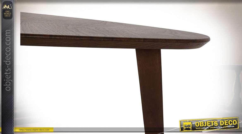 TABLE BASSE MDF MÉTAL 130X80X32 NOYER MARRON