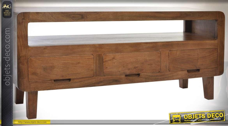 Meuble de TV en bois d'acacia finition brou de noix esprit Alpin, 140cm
