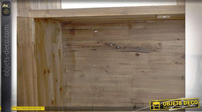Étagère en bois recyclé style chalet finition brun beige, 189cm