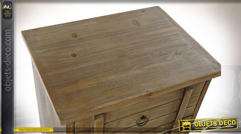 Petite commode en bois finition brun clair style montagnard, 81cm