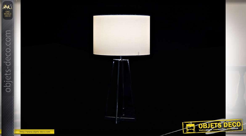 LAMPE DE TABLE MÉTAL POLYESTER 33X33X68 33 CHROME