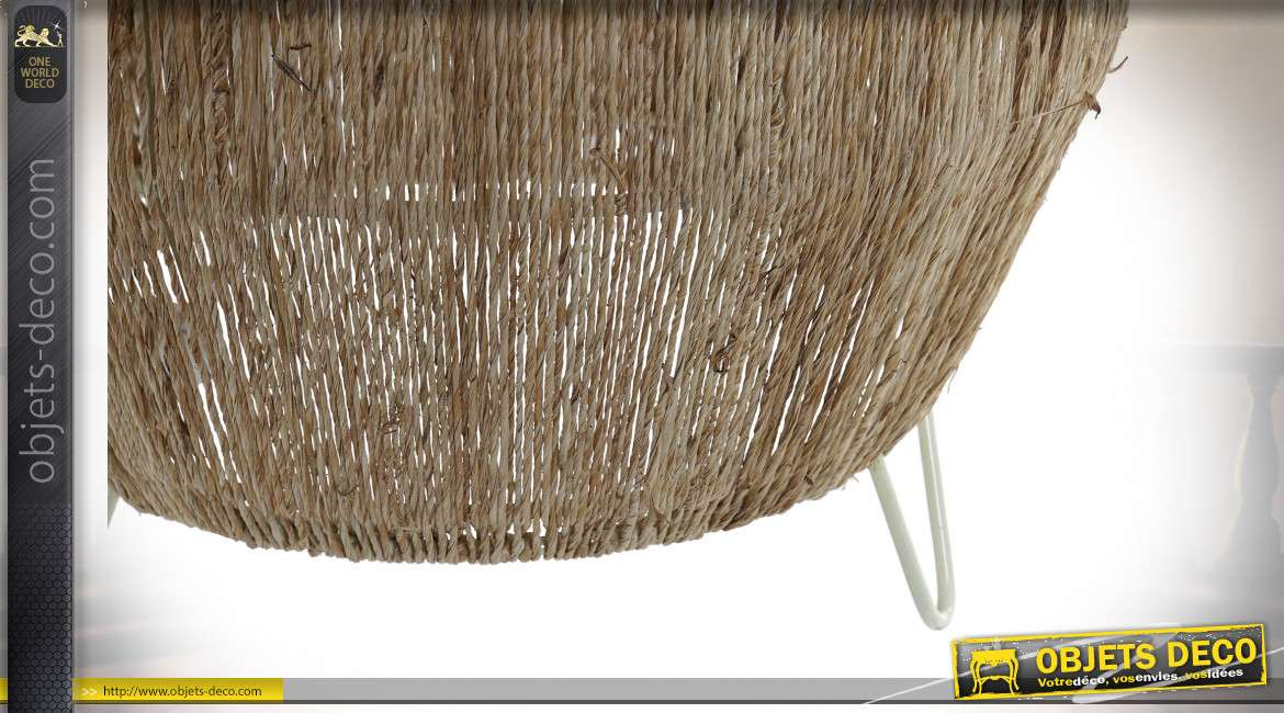 Lampe à poser en jute finition naturelle style tropical, 81cm