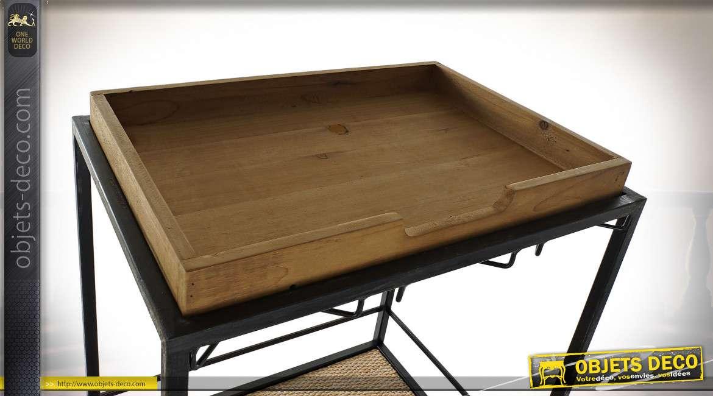 Meuble bar en bois et métal finition noire et acajou, 164cm
